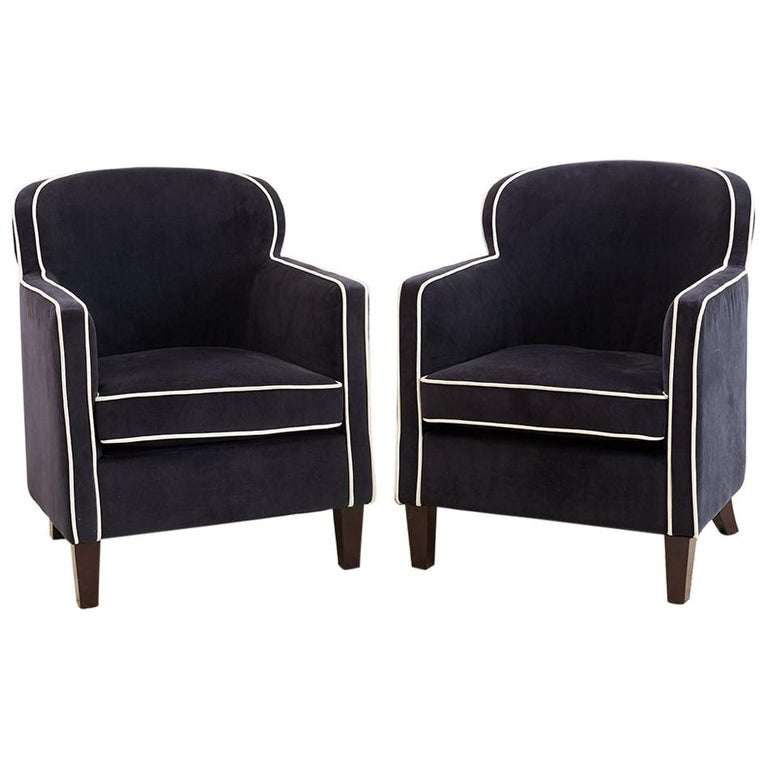 Pair of Art Deco Style Velvet Club Chairs For Sale