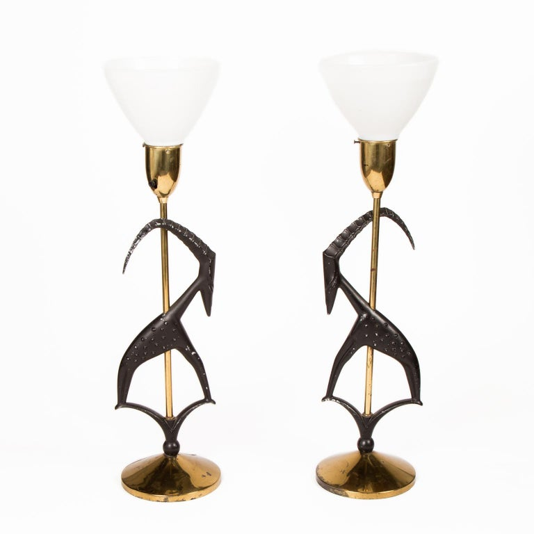 Modern Pair of Art Deco Stylized Gazelle Metal and Brass Table Lamps by Rembrandt For Sale