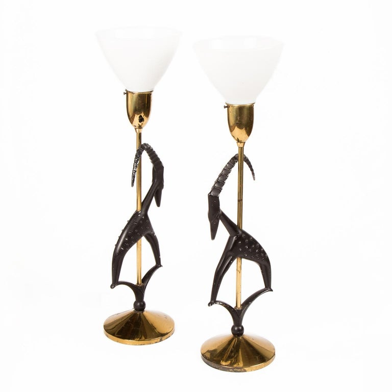 American Pair of Art Deco Stylized Gazelle Metal and Brass Table Lamps by Rembrandt For Sale