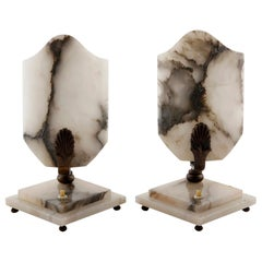 Pair of Art Deco Table Lamps, Alabaster Bronze, 1930s