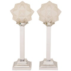 Pair of Art Deco Table Lamps with Original Glass Star Shades