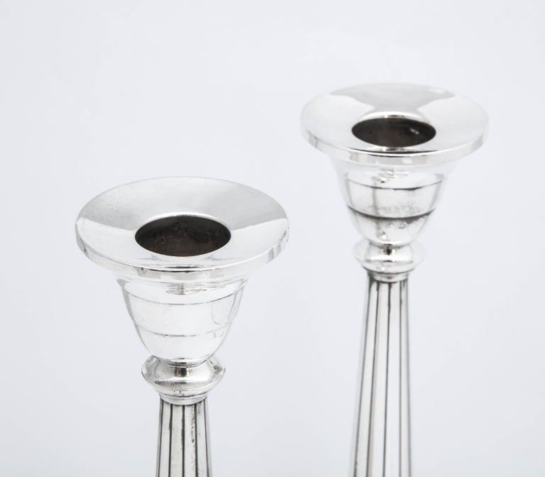 Pair of Art Deco Tall Sterling Silver Candlesticks For Sale 5