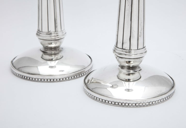 Pair of Art Deco Tall Sterling Silver Candlesticks For Sale 6