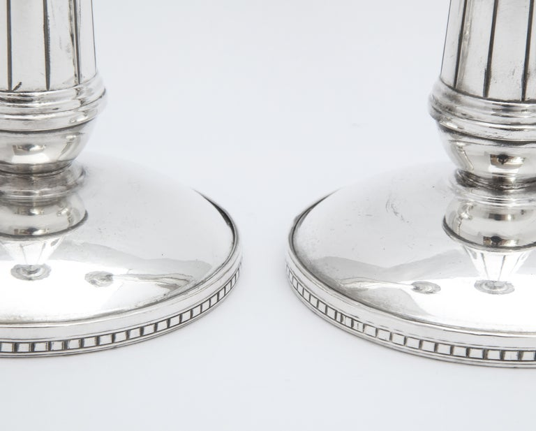 Pair of Art Deco Tall Sterling Silver Candlesticks For Sale 7