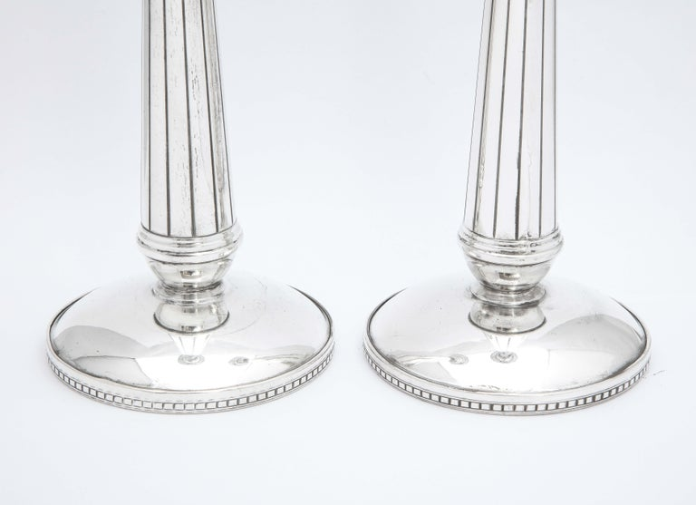 American Pair of Art Deco Tall Sterling Silver Candlesticks For Sale