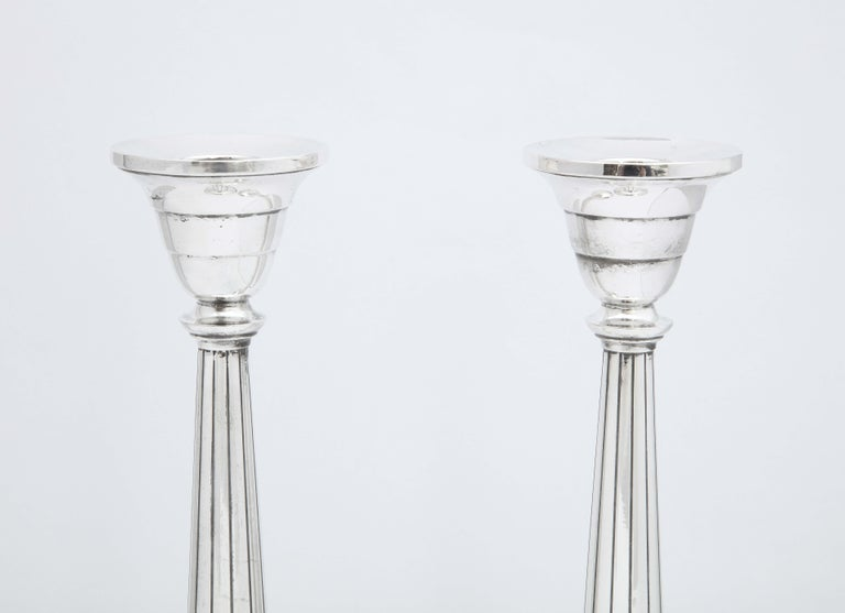Pair of Art Deco Tall Sterling Silver Candlesticks In Good Condition For Sale In New York, NY