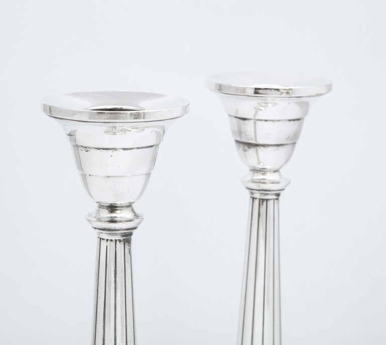 Pair of Art Deco Tall Sterling Silver Candlesticks For Sale 1