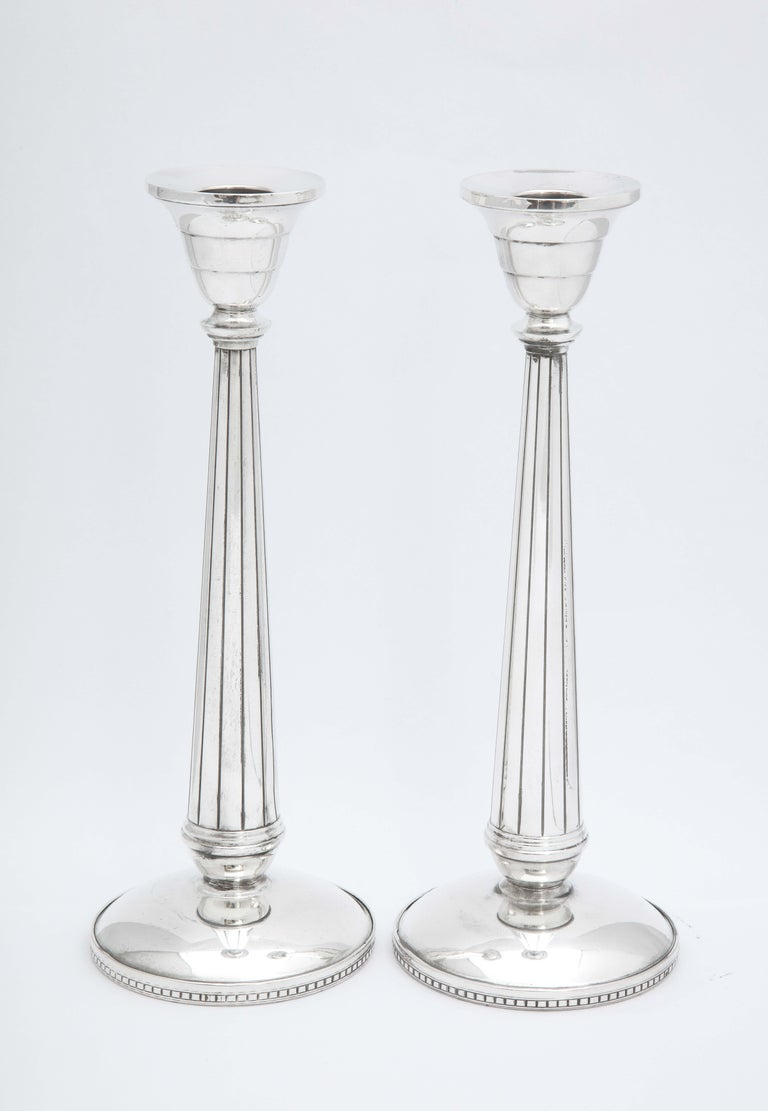 Pair of Art Deco Tall Sterling Silver Candlesticks For Sale 2