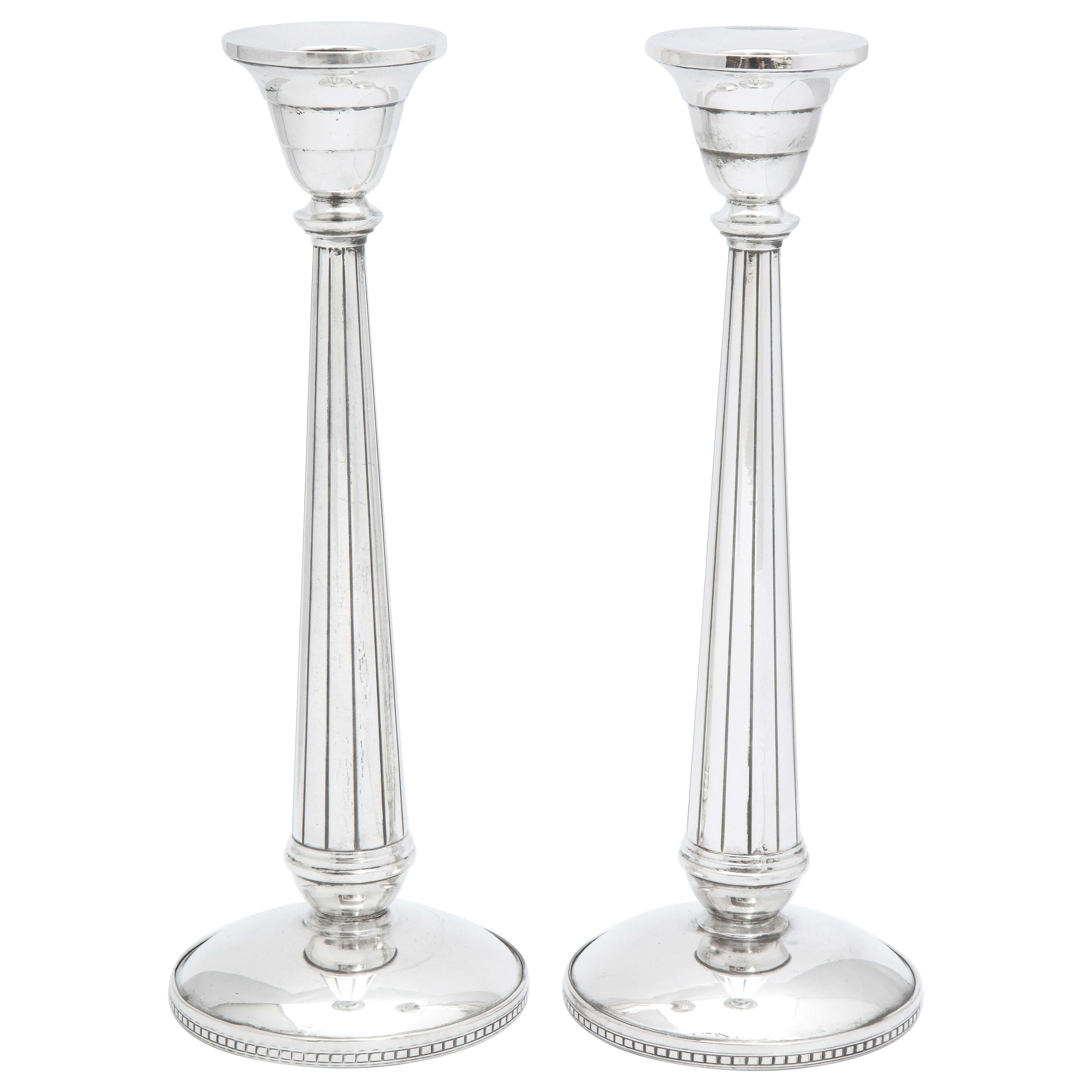 Pair of Art Deco Tall Sterling Silver Candlesticks