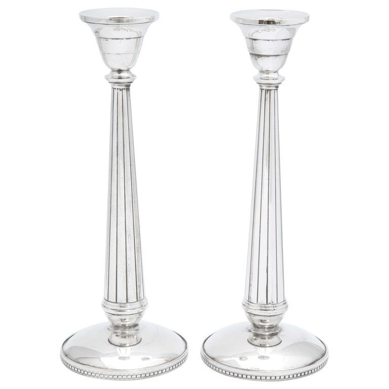 Pair of Art Deco Tall Sterling Silver Candlesticks For Sale
