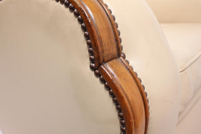 Pair of Art Deco Tank Armchairs in Leather 10