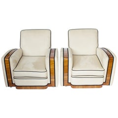 Pair of Art Deco Tank Chairs Faux Suede and Walnut Banding English, circa 1930