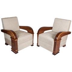 Pair of Art Deco Teak Club Chairs, European