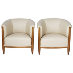 Pair of Art Deco Tub Chairs Attributed to Paul Follot