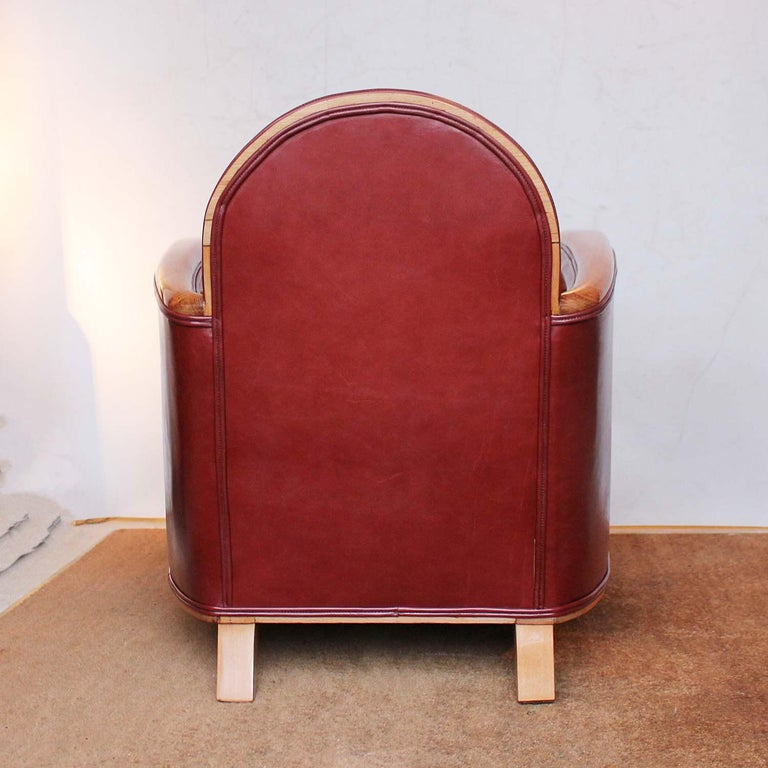 Fruitwood Pair of Art Deco Tub Chairs For Sale