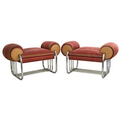 Pair of Art Deco Tubular Chrome Bench Benches by Donald Deskey
