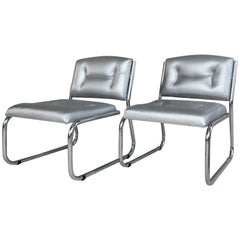 Pair of Art Deco Tubular Chrome Lounge Chairs in Silver Faux Leather