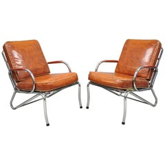 Pair of Art Deco Tubular Chrome Red Vinyl Club Lounge Armchairs Attr. Lloyd Mfg.