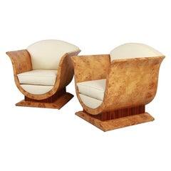 Pair of Art Deco Tulip Chairs in Burl & Rosewood