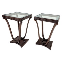 Pair of Art Deco Tulip Shaped Glass Top End Tables