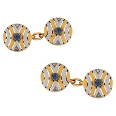 Pair of Art Deco Two-Color Gold Cufflinks
