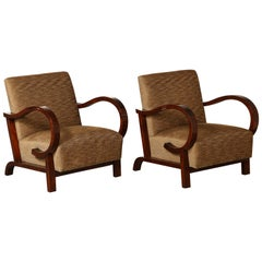 Pair of Art Deco Upholstered Armchairs