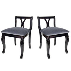 Pair of Art Deco Vanity Chairs in Mohair and Ebonized Walnut