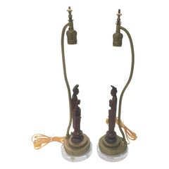 Pair of Art Deco Vanity Table Lamps with Quan Yin Figures