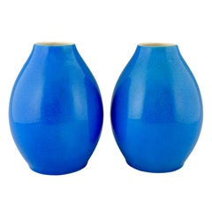 Pair of Art Deco Vases Blue Crackled Ceramic Catteau Boch Freres, 1925