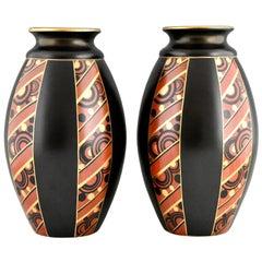 Pair of Art Deco Vases with Geometric Pattern Saint Ghislain, Belgium, 1930