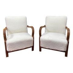 Pair of Art Deco Vintage Faux Sherling Sheepskin Chairs