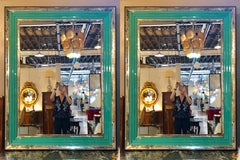 Pair of Art Deco Wall, Console or Pier Mirrors with Turquoise Beveled Frames