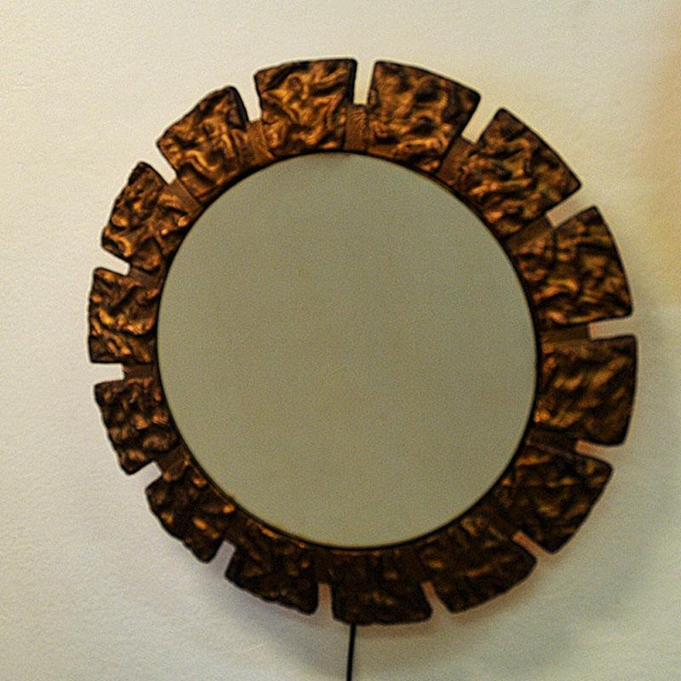 Scandinavian Modern Pair of vintage Art Deco Wall Mirrors with Light from the 1930s, Scandinavia For Sale