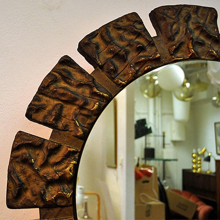 Scandinavian Pair of vintage Art Deco Wall Mirrors with Light from the 1930s, Scandinavia For Sale