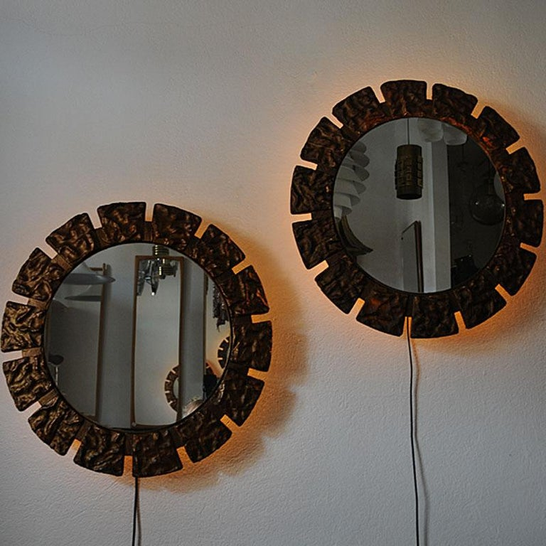 Batik Pair of vintage Art Deco Wall Mirrors with Light from the 1930s, Scandinavia For Sale