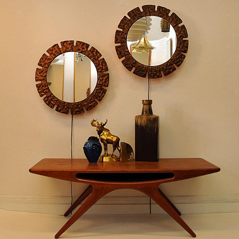 Pair of vintage Art Deco Wall Mirrors with Light from the 1930s, Scandinavia For Sale 2