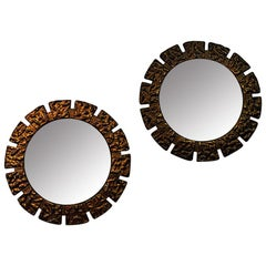 Pair of vintage Art Deco Wall Mirrors with Lightning 1930s, Scandinavia