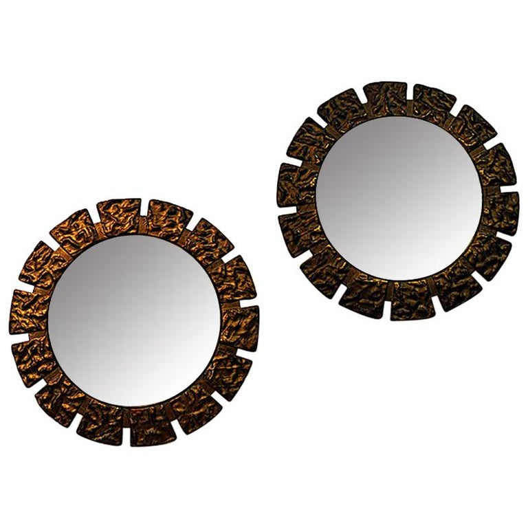 Pair of vintage Art Deco Wall Mirrors with Light from the 1930s, Scandinavia For Sale