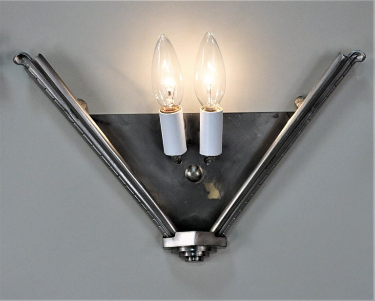 Mid-20th Century Pair of Art Deco Wall Sconces by Atelier Petite For Sale