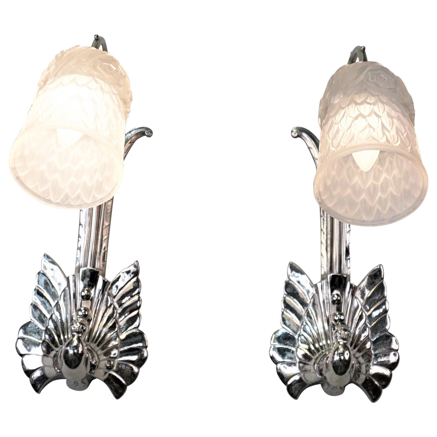 Pair of Art Deco Wall Sconces by Charles Schneider