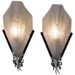 Pair of Art Deco Wall Sconces by EJG