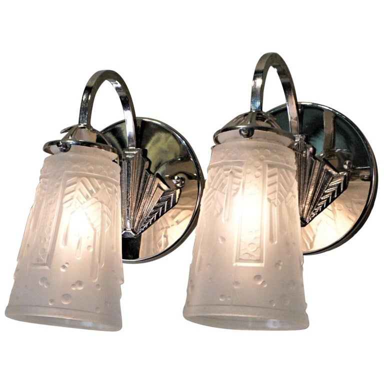 Pair of Art Deco Wall Sconces by Muller Freres For Sale
