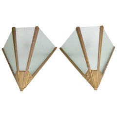 Pair of Art Deco Wall Sconces Frosted Moulded Glass Mounted in a Metal Frame