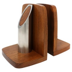 Pair of Art Deco Walnut and Polished Aluminum Bookends