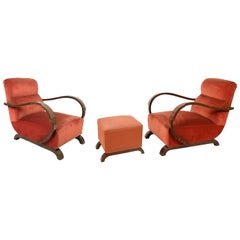 Pair of Art Deco Walnut and Red Fabric Italian Armchairs and Ottoman, 1930s