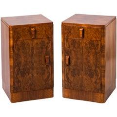 Pair of Art Deco Walnut Bedside Cabinets, England, circa 1930