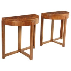 Pair of Art Deco Walnut Card / Console Tables