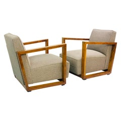 Pair of Art Deco Walnut Club Armchairs, Austria, circa 1930