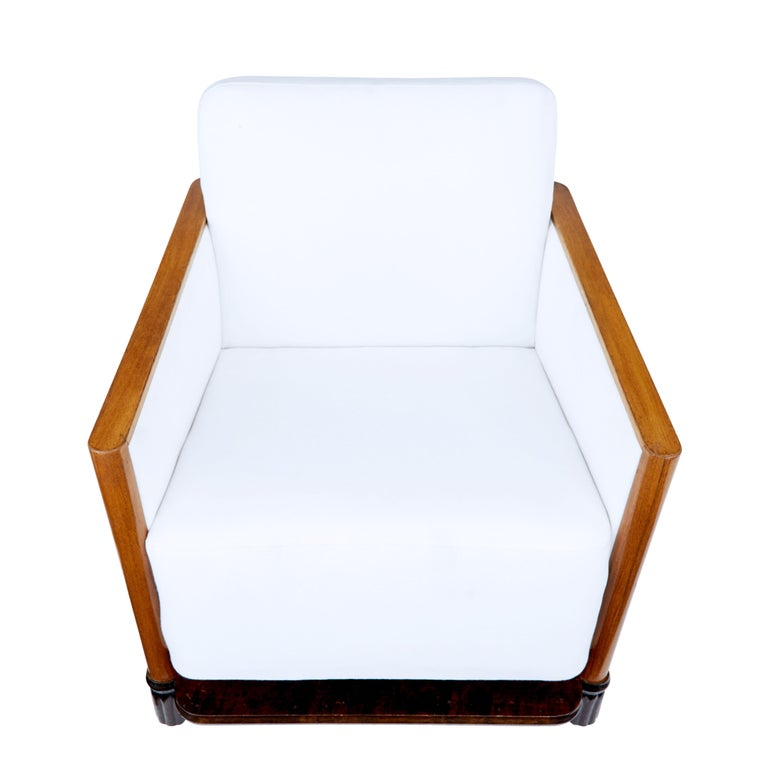 Swedish Pair of Art Deco Walnut Club Armchairs For Sale