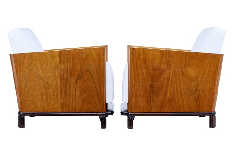 Pair of Art Deco Walnut Club Armchairs For Sale 1
